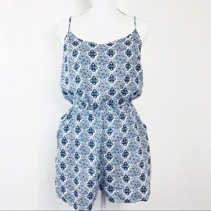 Divided Romper Blue Criss-Cross Back Pockets 10